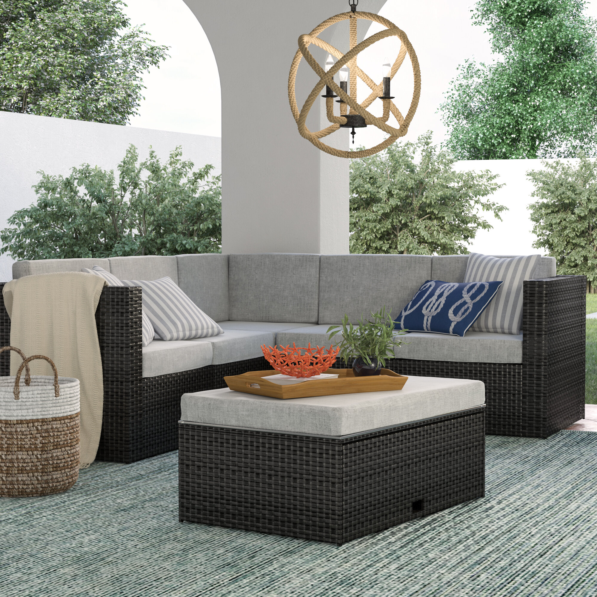 Sol 72 Outdoor Mcnab 4 Piece Rattan Sectional Seating Group With Cushions Reviews Wayfair