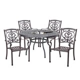 Batista Traditional 5 Piece Dining Set with Cushions