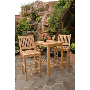 Avalon 3 Piece Teak Bar Height Dining Set