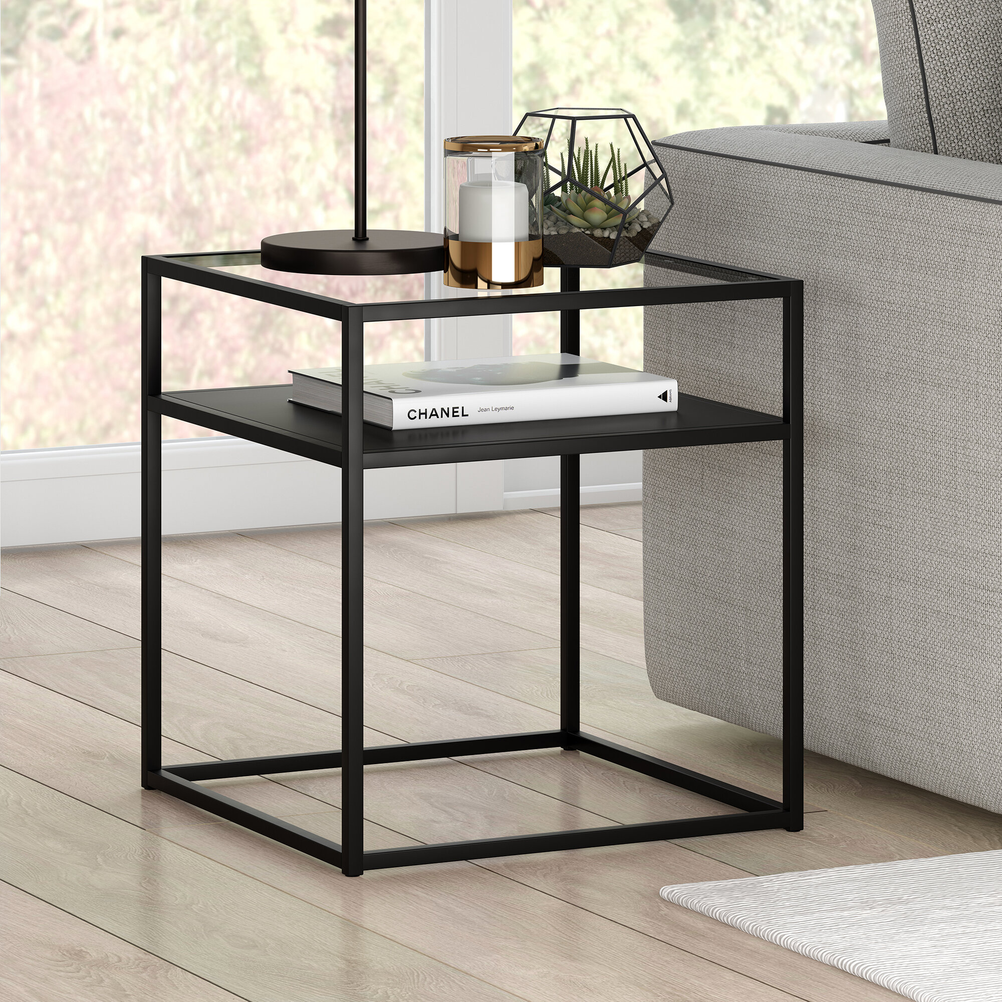 Allmodern Duran Glass Top Frame End Table With Storage Reviews Wayfair