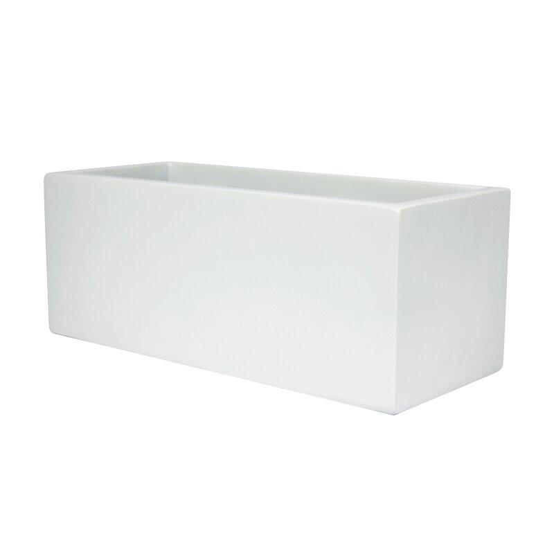 "Sol 72 Outdoor  Barclay Rectangle Fiberglass Planter Box Color: White, Size: 8"" H x 24"" W x 8"" D"