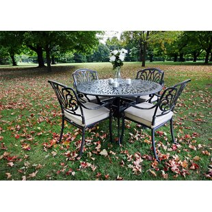 Gunter 5 Piece Dining Set with Sunbrella Cushions