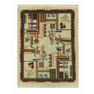 Hand-Knotted Ivory/Brown Area Rug