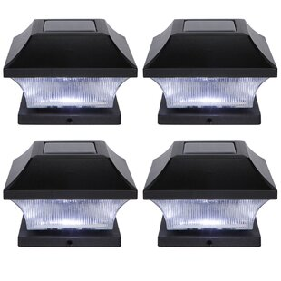 Solar Garden Pathway 4 LED Fence Post Cap (Set of 4)