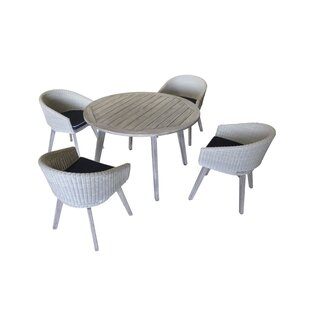 Kenansville 5 Piece Teak Dining Set with Cushions
