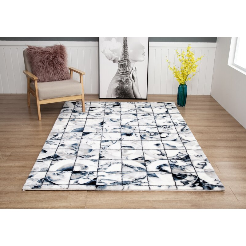 Everly Quinn Way Wick Geometric Blue White Black Area Rug Wayfair