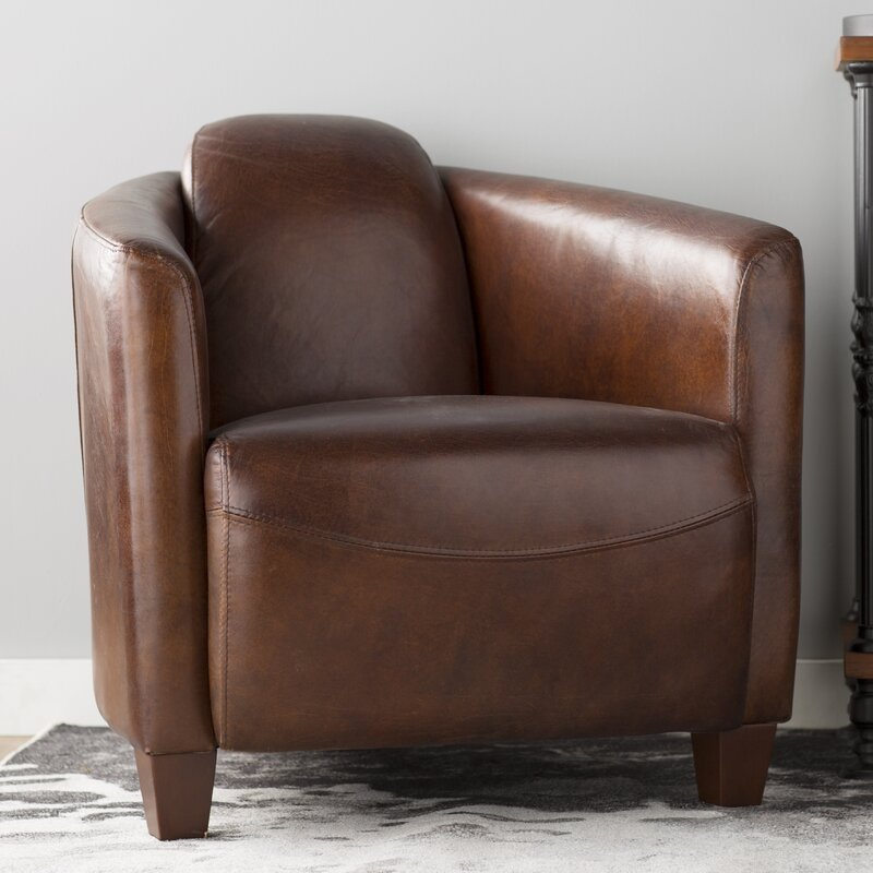 Great Buy Kailey Leather Barrel Chair By 17 Stories Find