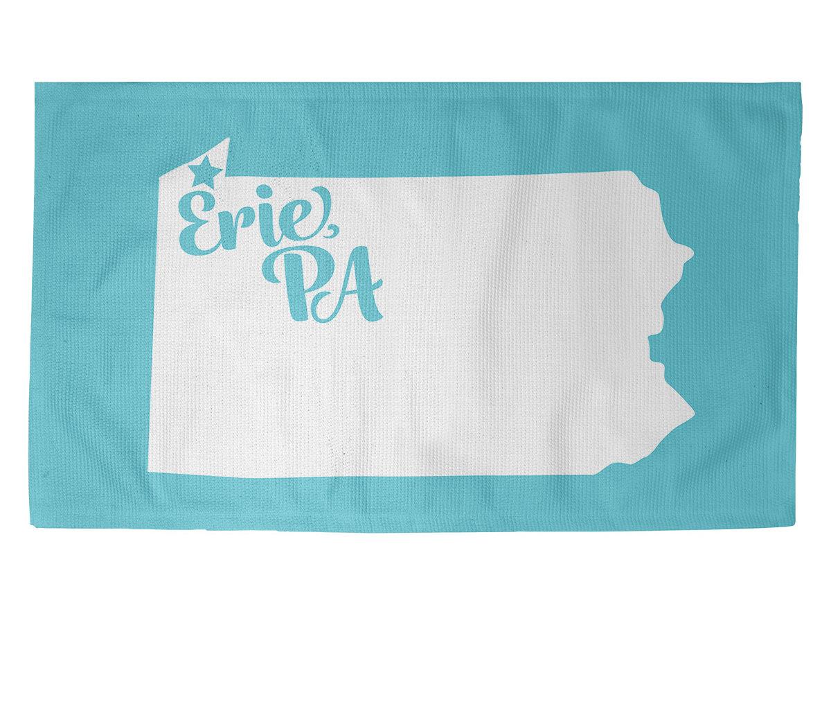 East Urban Home Erie Pennsylvania Teal Area Rug Wayfair
