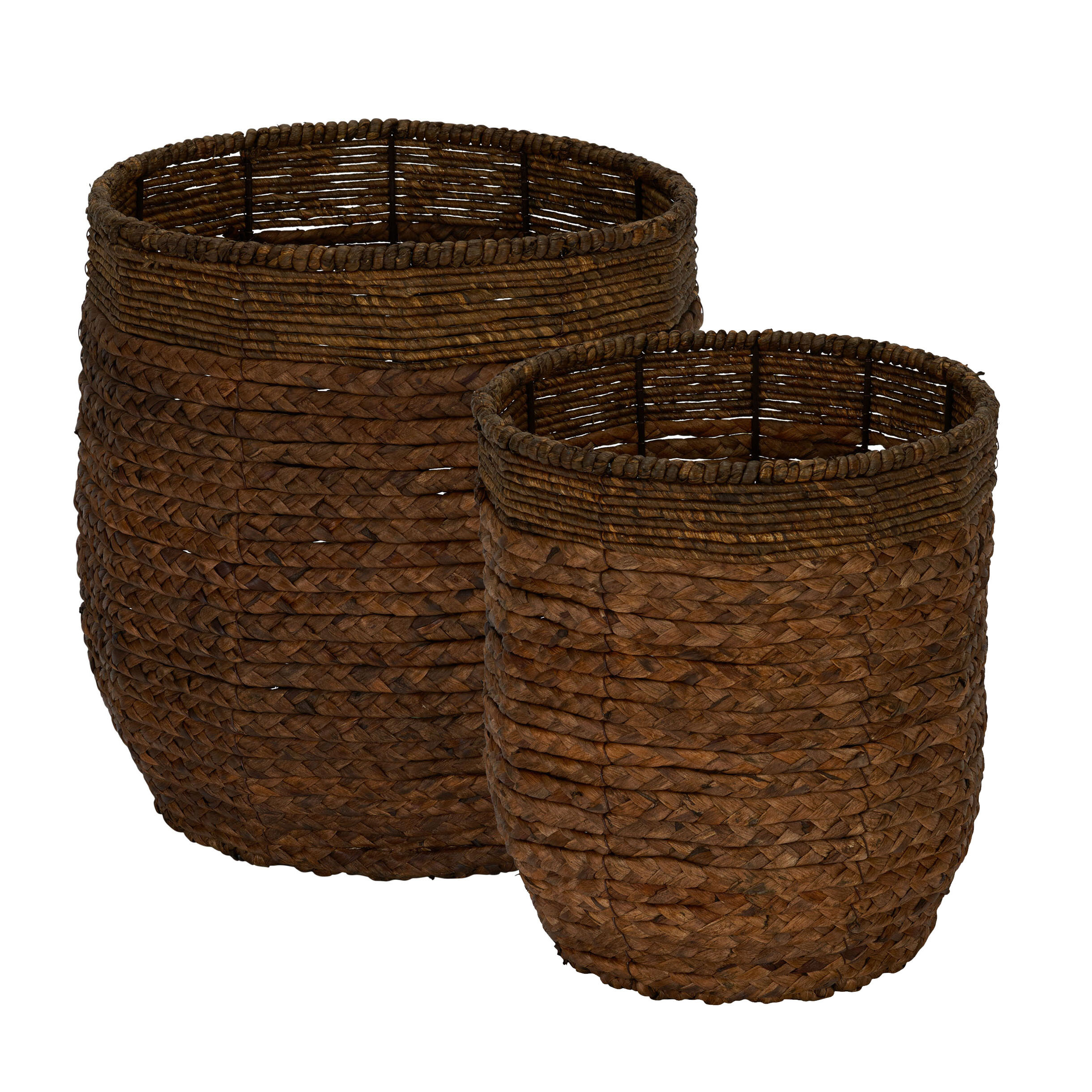 Tremendous Water Hyacinth Round Rimmed Wicker 2 Piece Basket Set Ncnpc Chair Design For Home Ncnpcorg