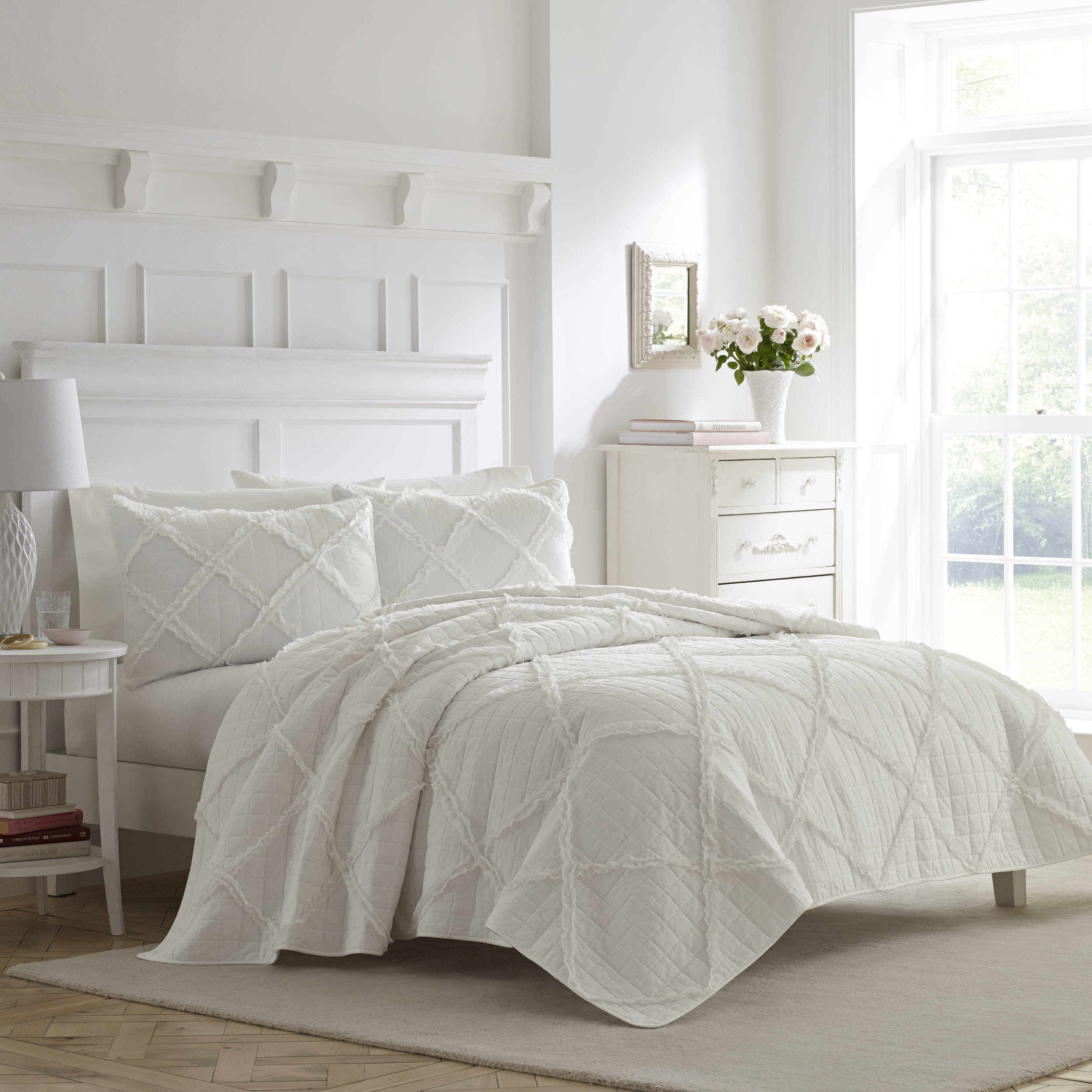 Laura Ashley Adelina White Cotton 3 Piece Duvet Cover Set Reviews Wayfair