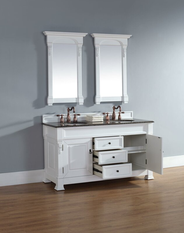 Bedrock  Double Burnished Mahogany Bathroom Vanity Set With Drawers