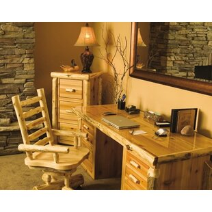 Traditional Cedar Log Executive Desk and Chair Set