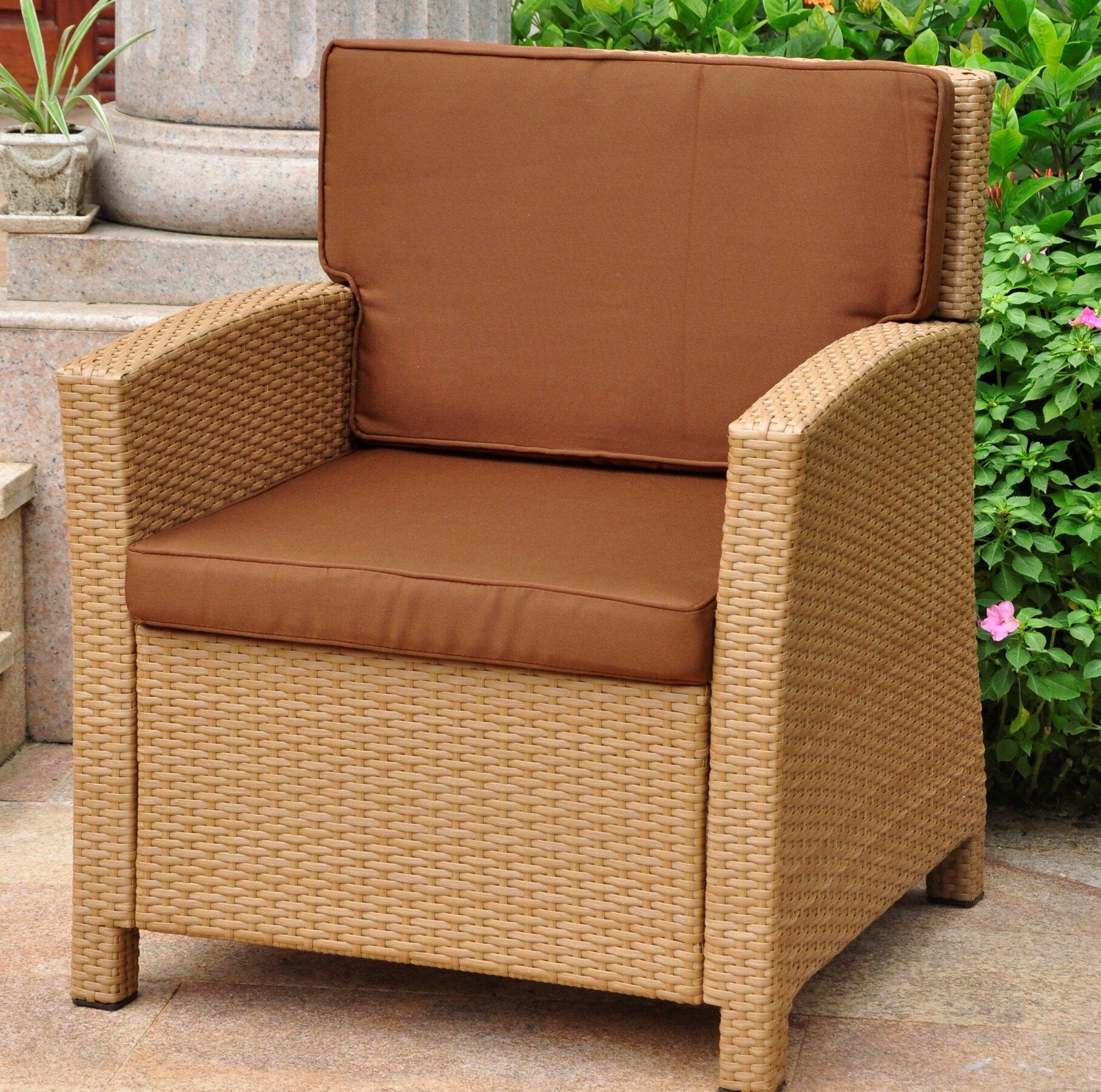Charlton Home Stapleton Wicker Resin Contemporary Patio Chair With Cushion Reviews Wayfair