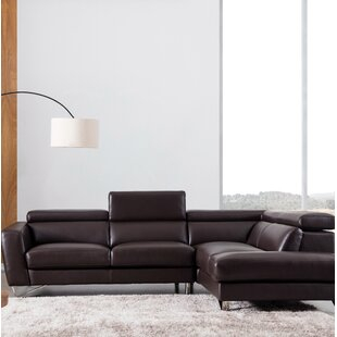 Brayson Leather Sectional By Orren Ellis