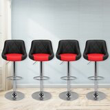 Marroquin Faux Leather Adjustable Height Swivel Bar Stool (Set of 4) by Orren Ellis