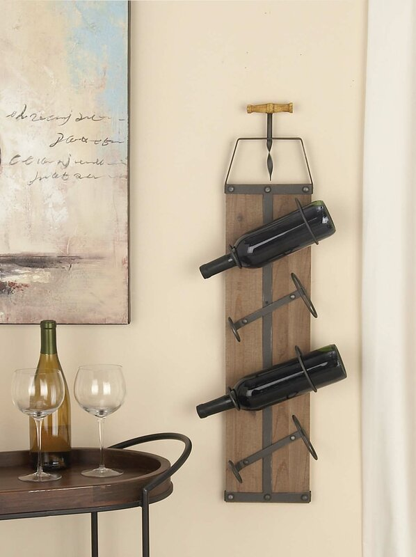 Cole & Grey Wood/Metal 4 Bottle Wall Mounted Wine Rack & Reviews ...