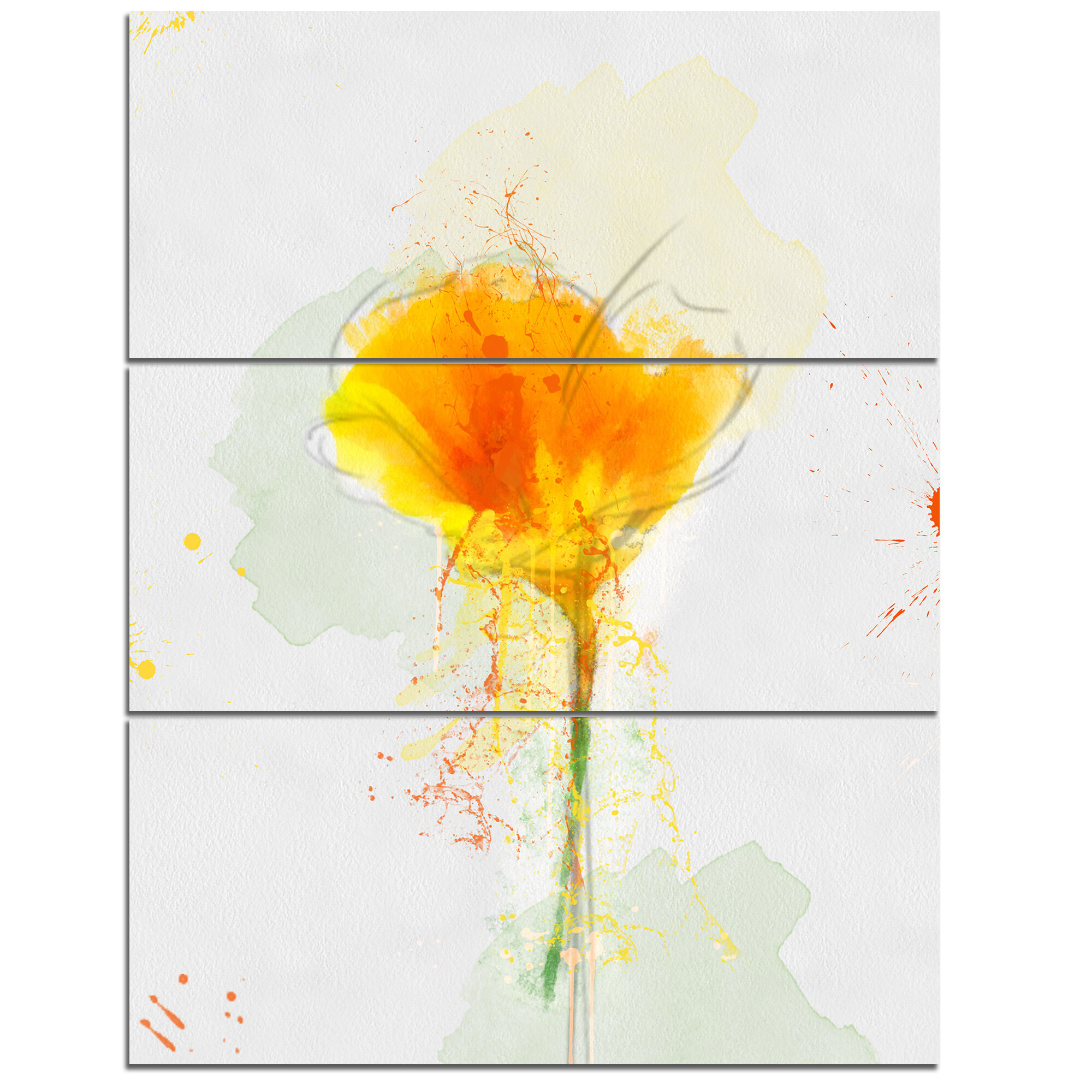 DesignArt \'Yellow Flower Sketch Watercolor\' 3 Piece Wall Art on ...