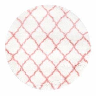 Kellie Bright White/Baby Pink Indoor Area Rug by Viv + Rae