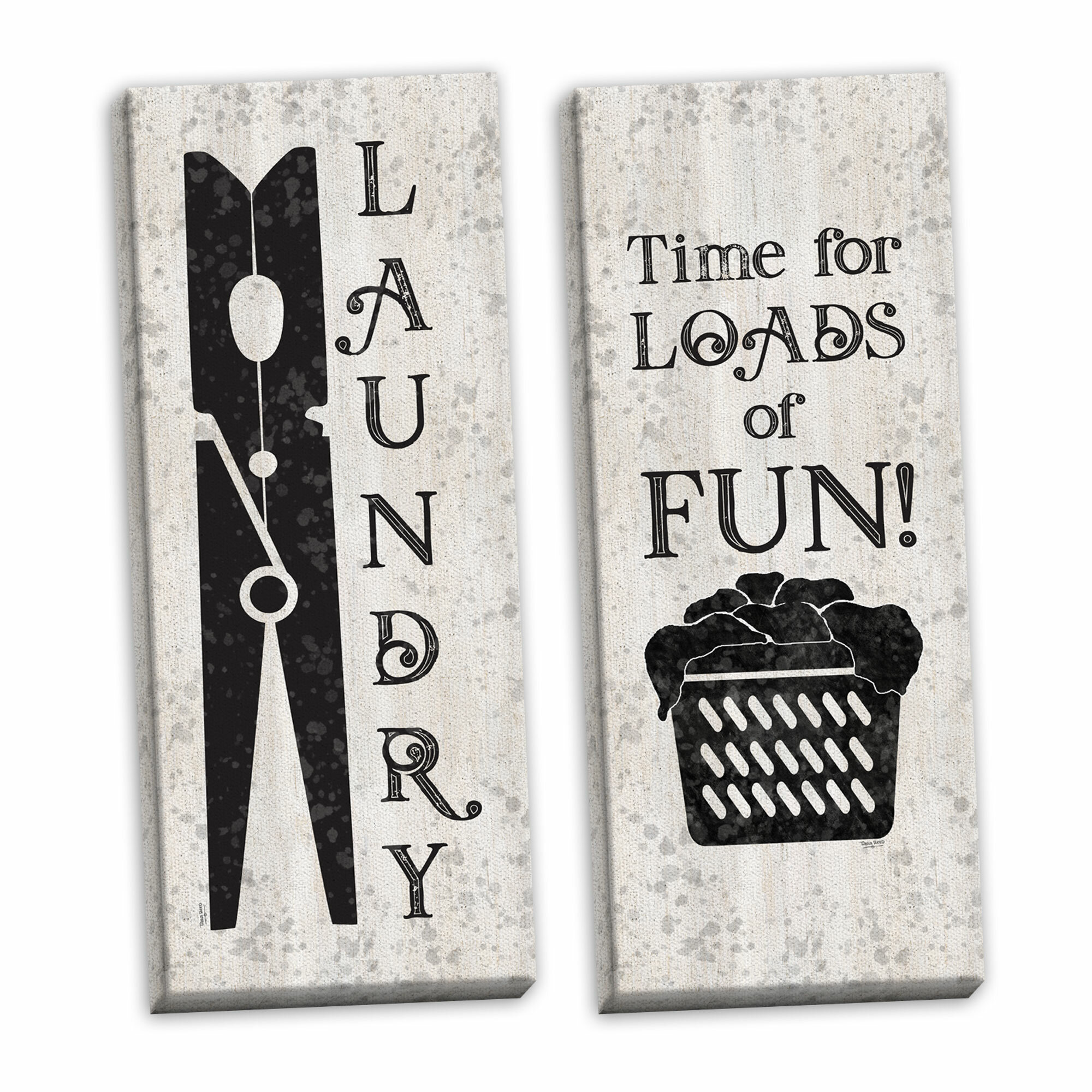 August Grove Laundry Room Humor Clothespin Loads Of Fun By Tara Reed 2 Piece Graphic Art Print Set On Canvas Wayfair