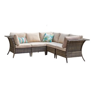 Gaines Outdoor 5 Piece Rattan Sectional Seating Group with Cushions