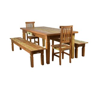 Goulart 5 Piece Solid Wood Dining Set