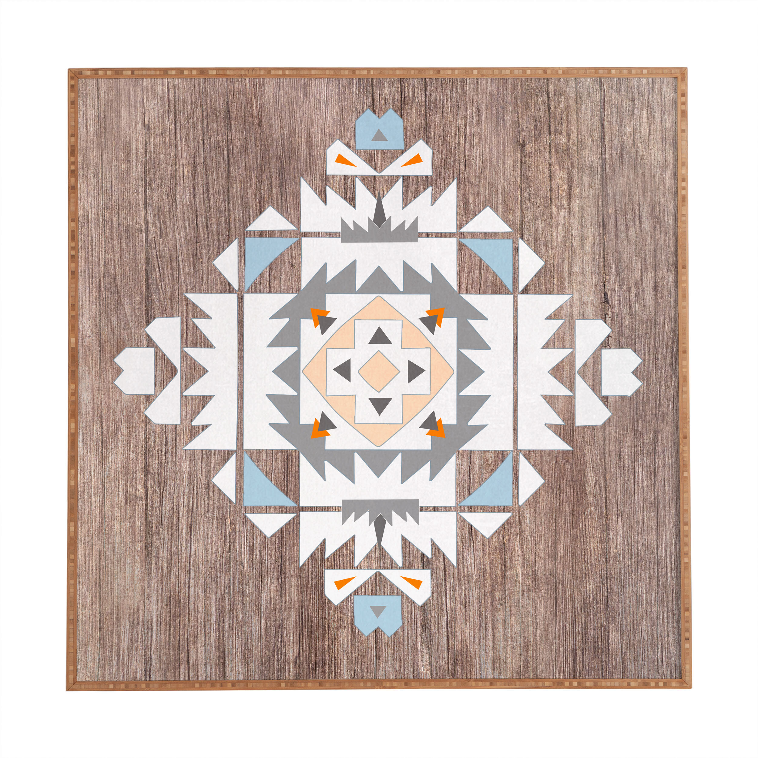East Urban Home Cream Tribal Picture Frame Graphic Art Print On Wood Wayfair