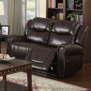 Marsh Island Leather Reclining Loveseat Red Barrel Studio