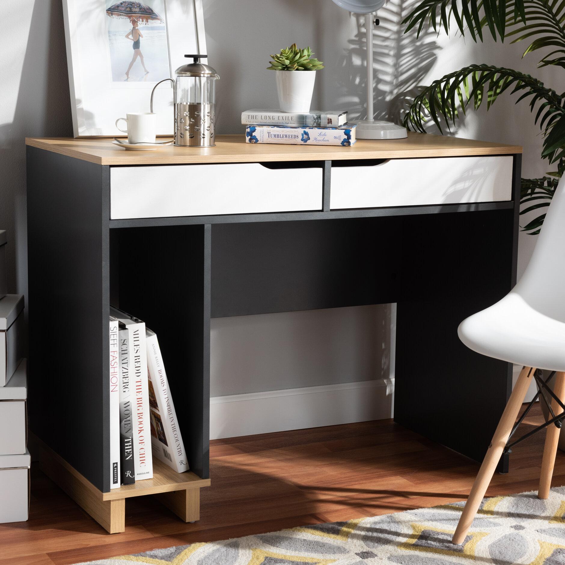 Image of: Ivy Bronx Reed Mid Century Modern 2 Drawer Multicolor Wood Computer Desk Reviews Wayfair
