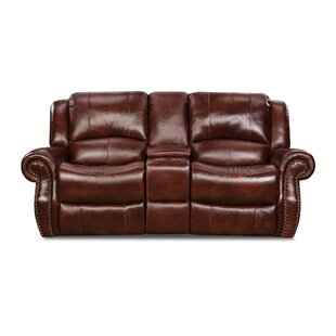 Hein Genuine Leather Reclining 80 Rolled Arm Loveseat