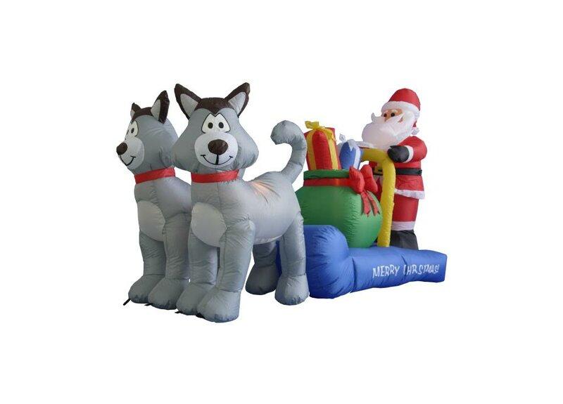 Long Husky Sleigh with Santa Christmas Decoration