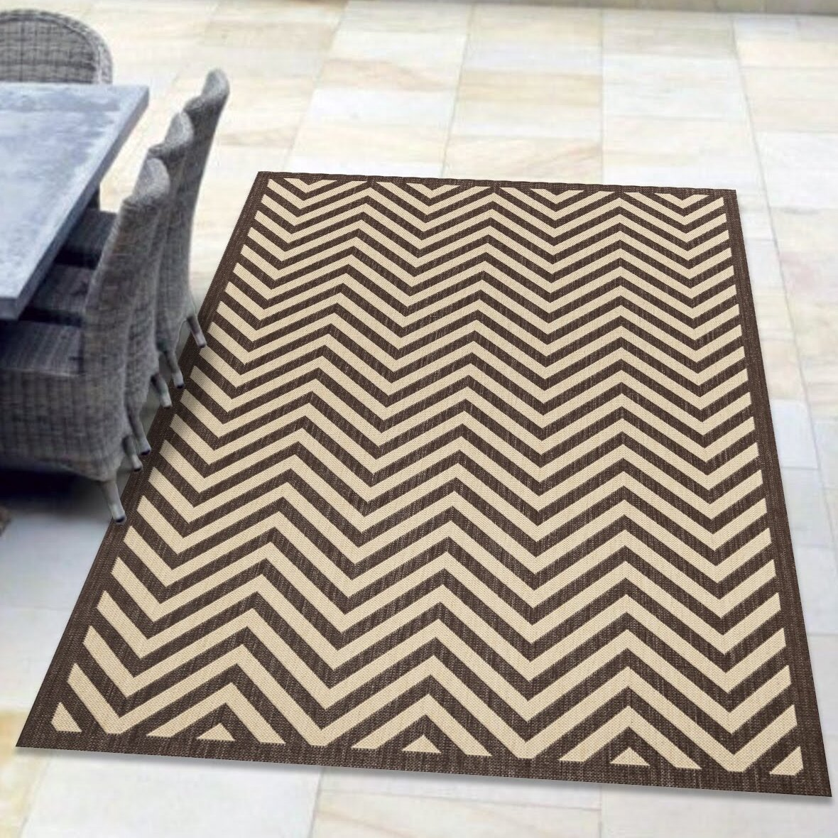 Latitude Run Akilah Chevron Brown Indoor Outdoor Area Rug Wayfair