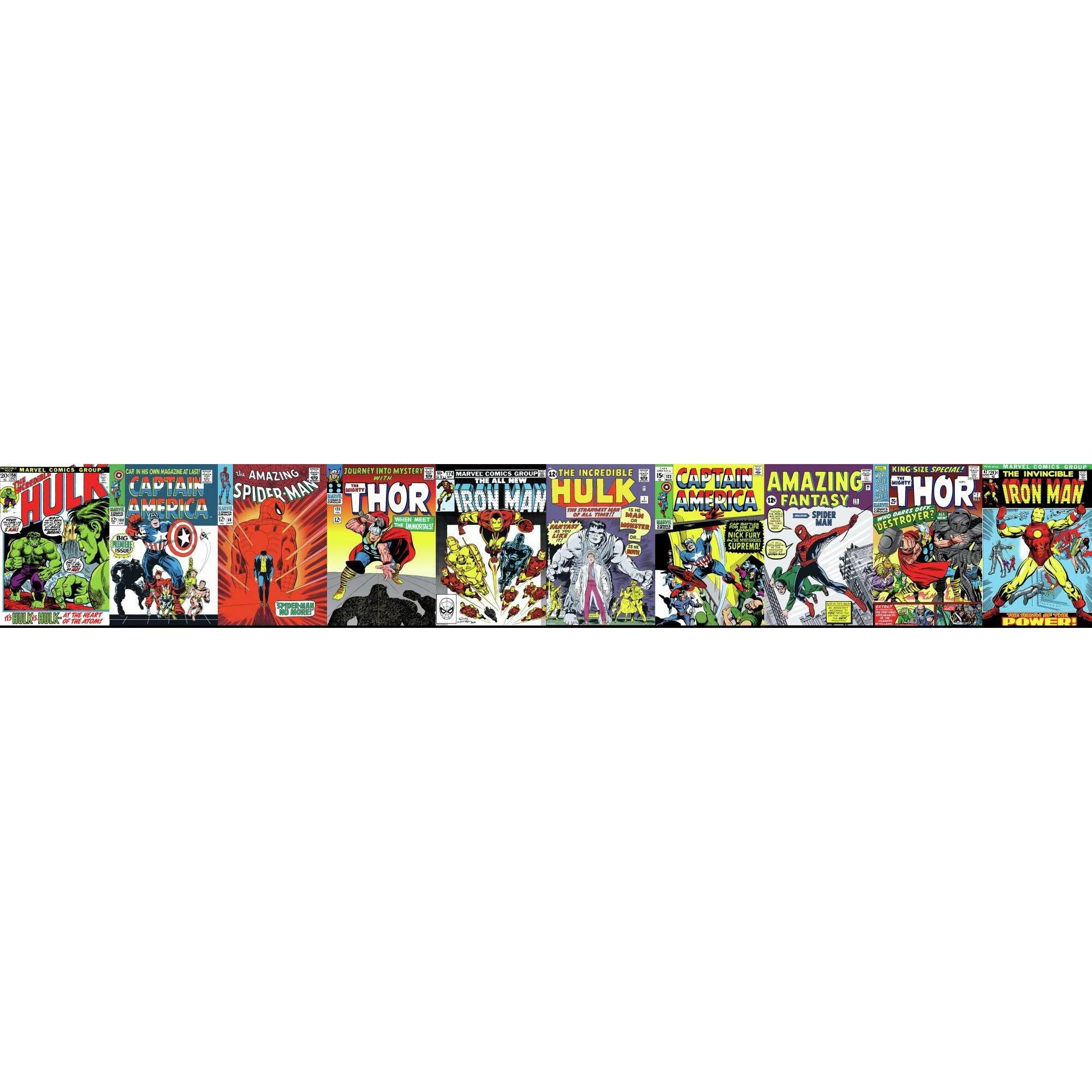 York Wallcoverings Disney Kids Iii Marvel Comic Book Covers 15 X