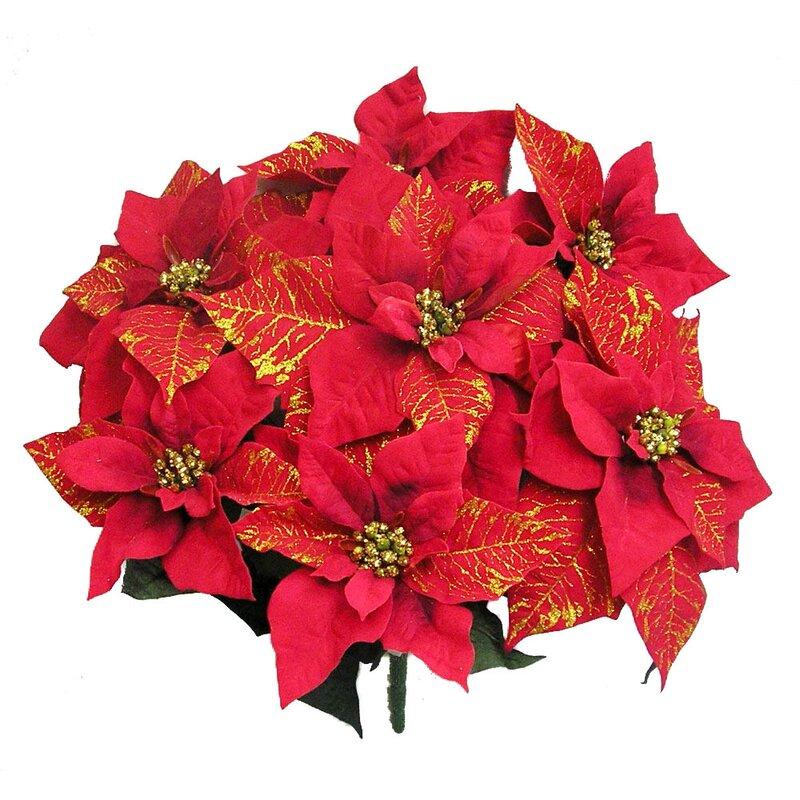 The Holiday Aisle 7 Stems Artificial Velvet Poinsettia Gold Printed Floral Arrangement Reviews Wayfair