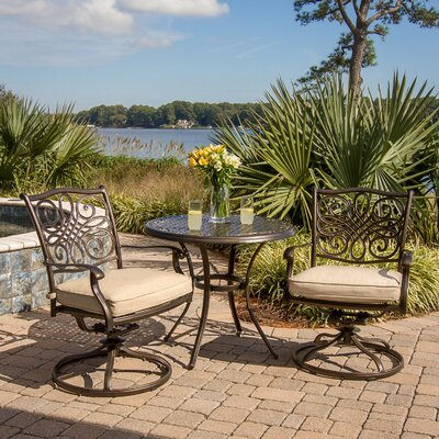 Carleton 3 Piece Swivel Bistro Set With Cushions by Fleur De Lis Living Herry Up