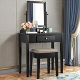 Risso Vanity Set with Stool and Mirror by Winston Porter