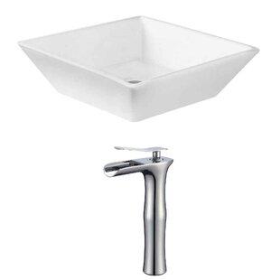 Best Price Ceramic Square Vessel Bathroom Sink with Faucet ByRoyal Purple Bath Kitchen