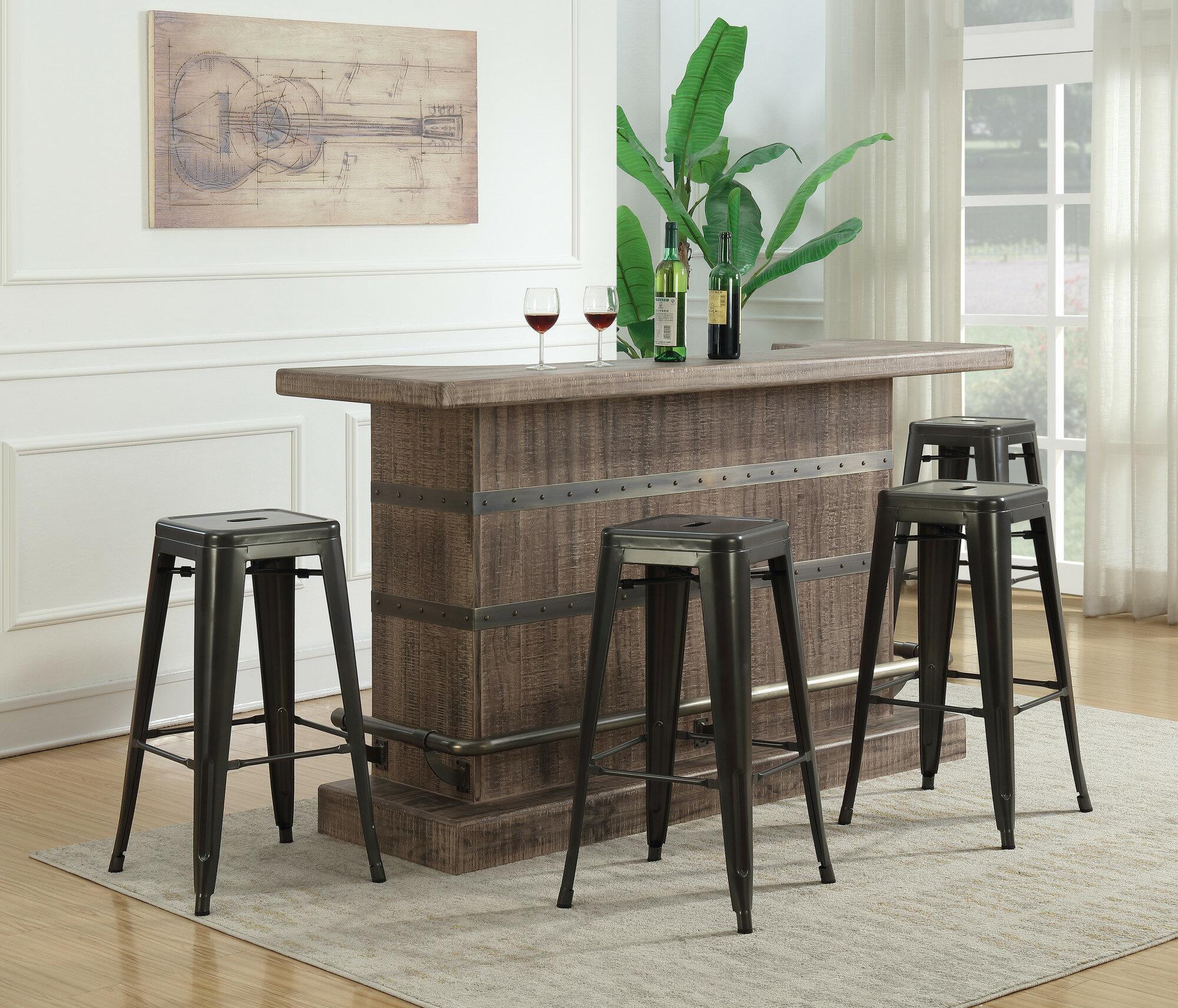 Dasilva 5 Piece Bar Set With Wine Storage