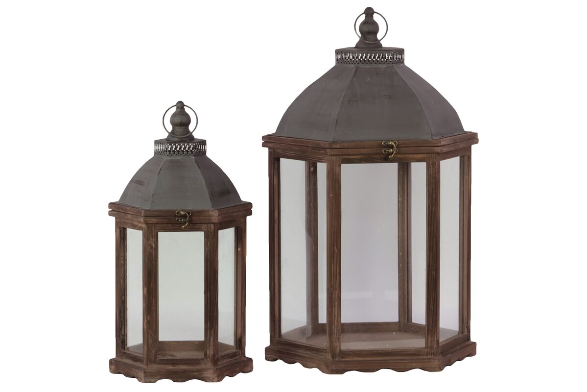 Wood Lantern with Cast Iron Top, Metal Handle and Glass Sides Set of Two Stained Wood Finish