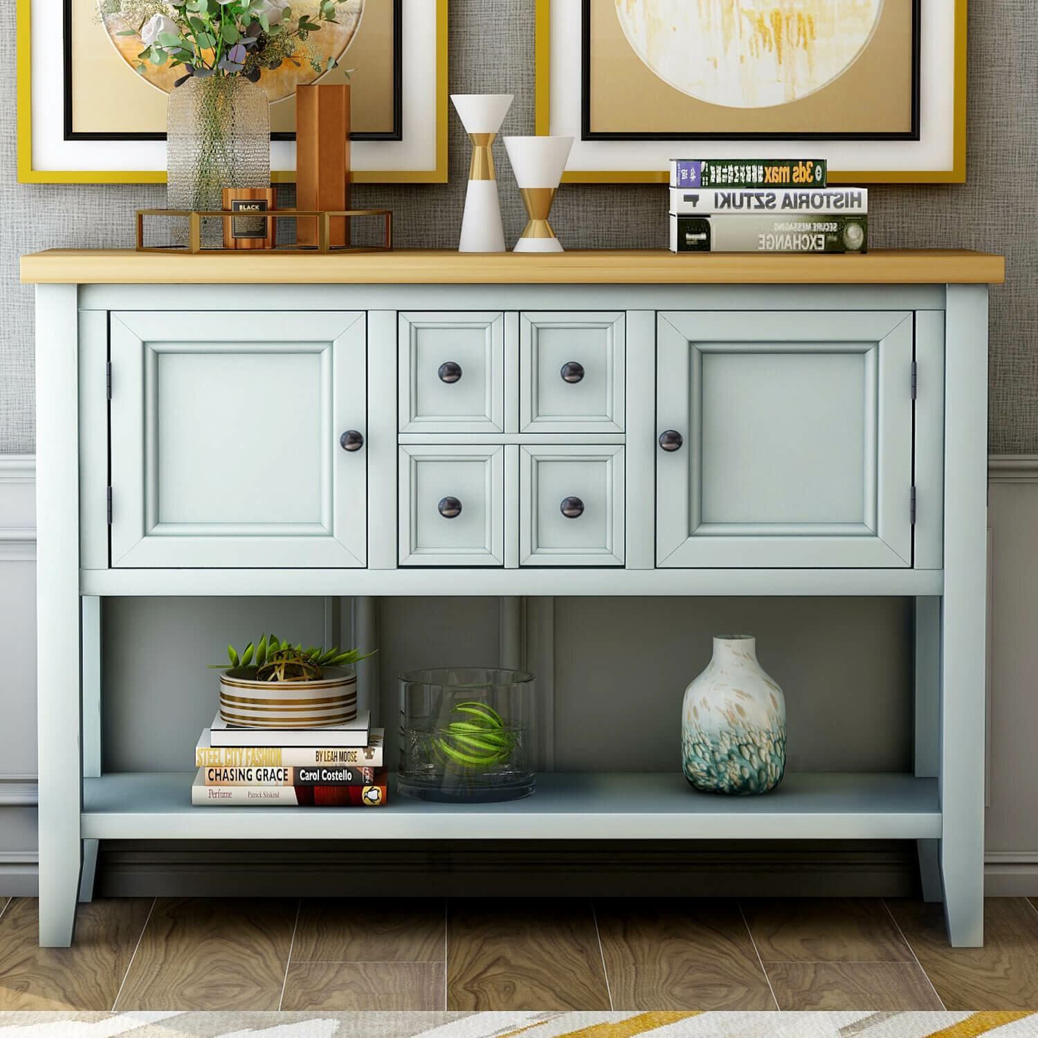 Canora Grey Hinderliter 46 Solid Wood Console Table Wayfair