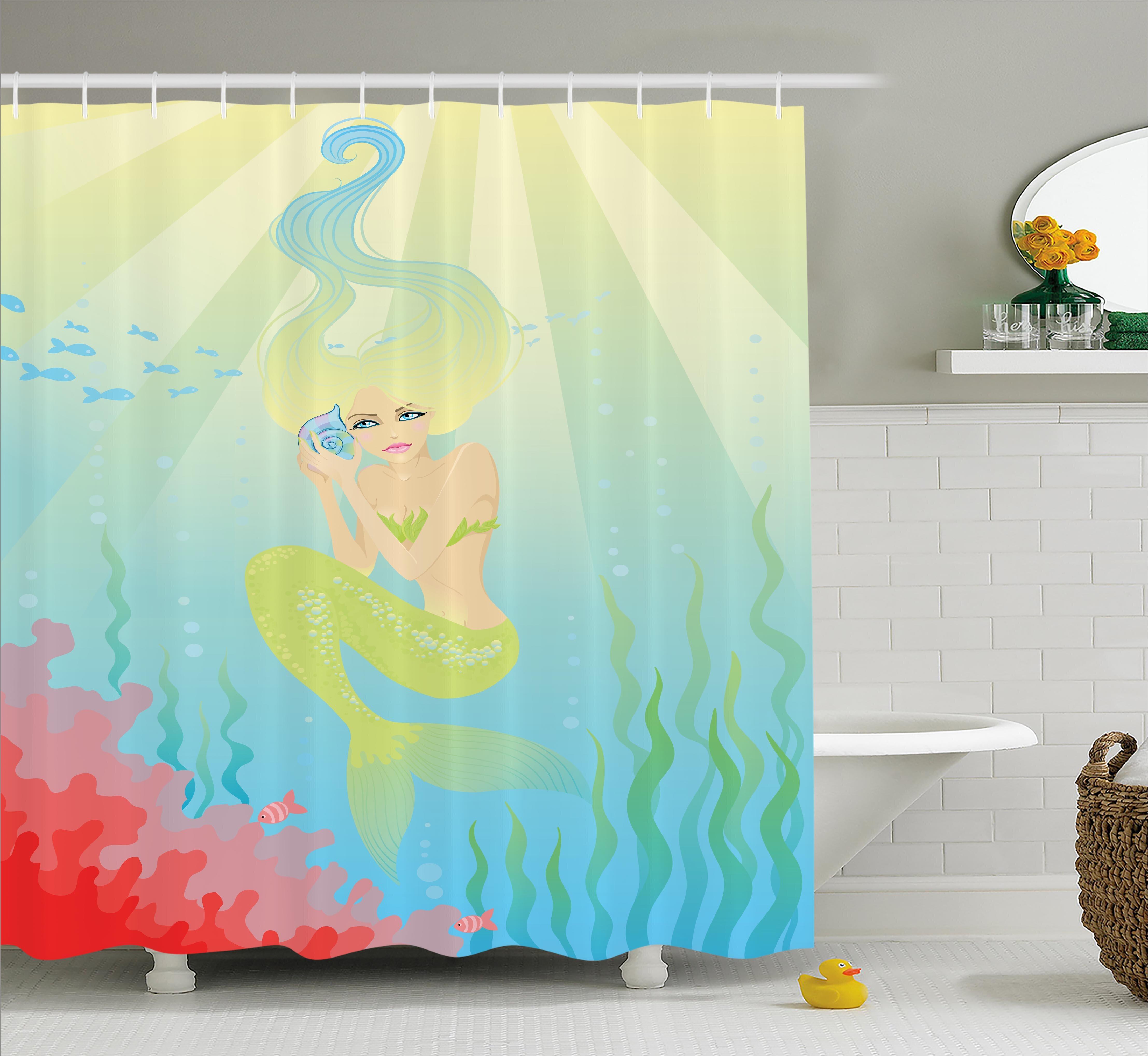 Undersea Palace Mermaid Waterproof Fabric Shower Curtain Set Bathroom Mat Hooks