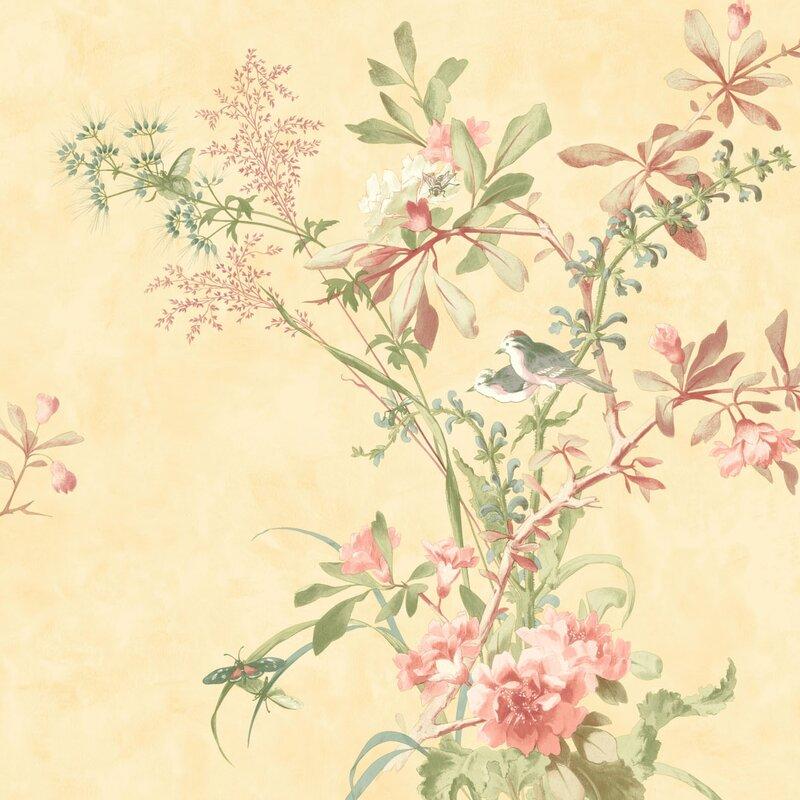 """Brights 33' L x 20.5"""" W Floral Wallpaper Roll"""