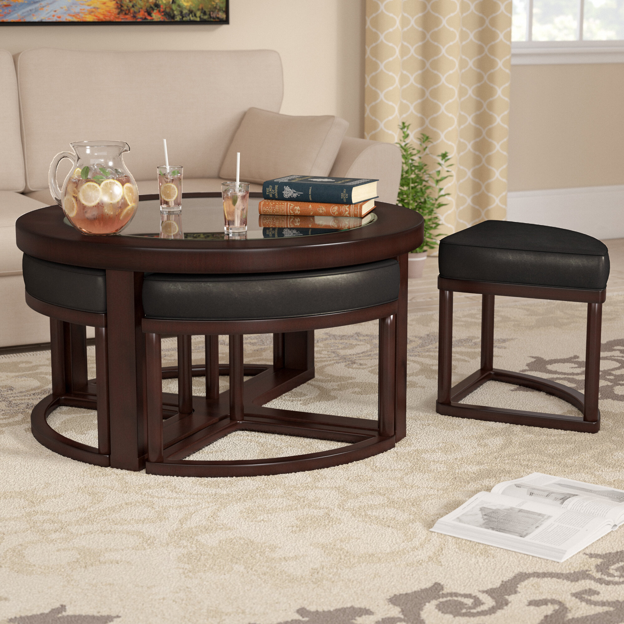Red Barrel Studio Plumwood Coffee Table With Nested Stools U0026 Reviews |  Wayfair