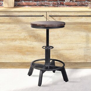 Brickey Adjustable Height Swivel Bar Stool by Williston Forge
