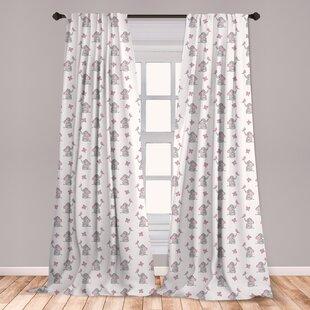 Elephant Nursery Room Darkening Rod Pocket Curtain Panels Set Of 2