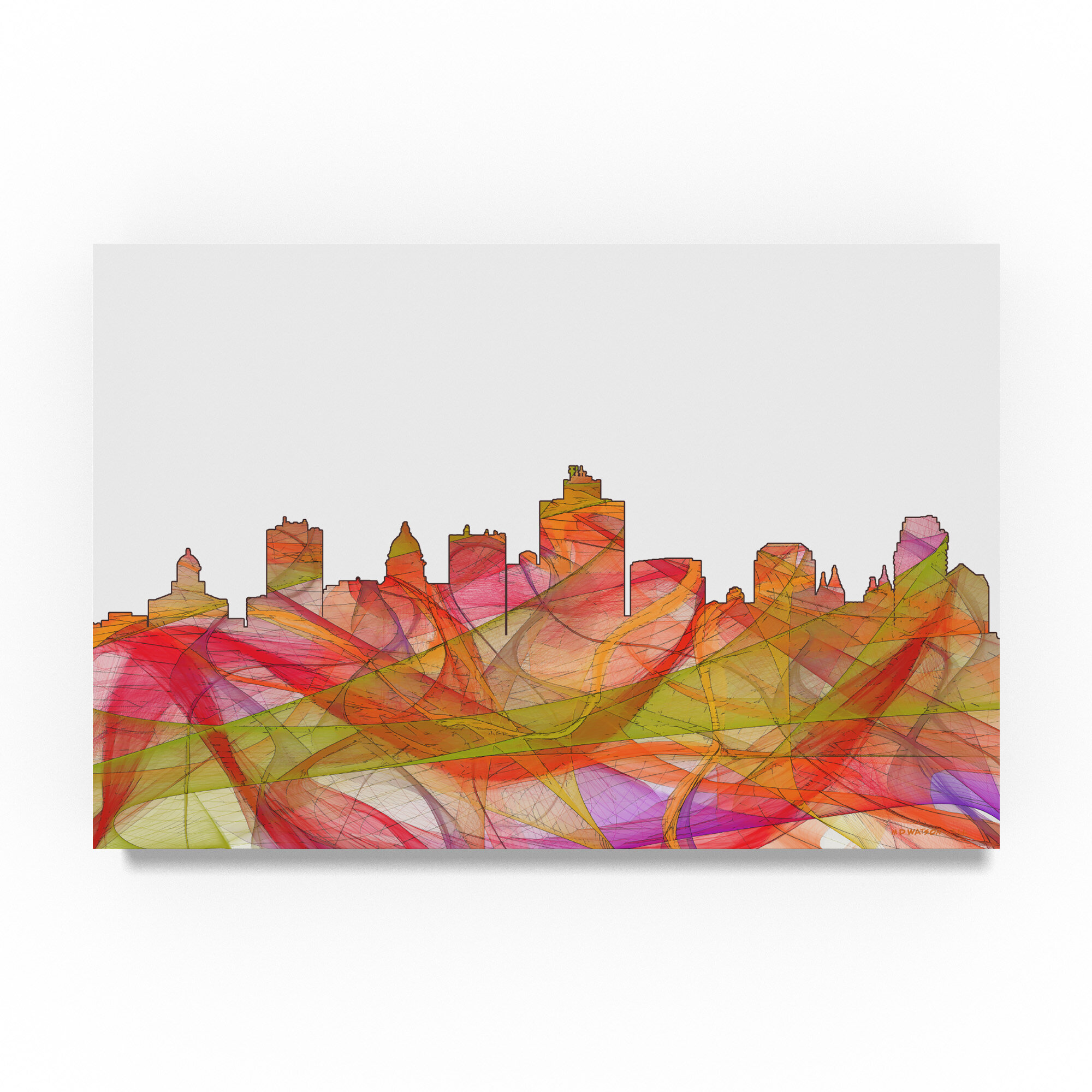 Trademark Art Salt Lake City Utah Skyline Swirl Graphic Art Print On Wrapped Canvas Wayfair