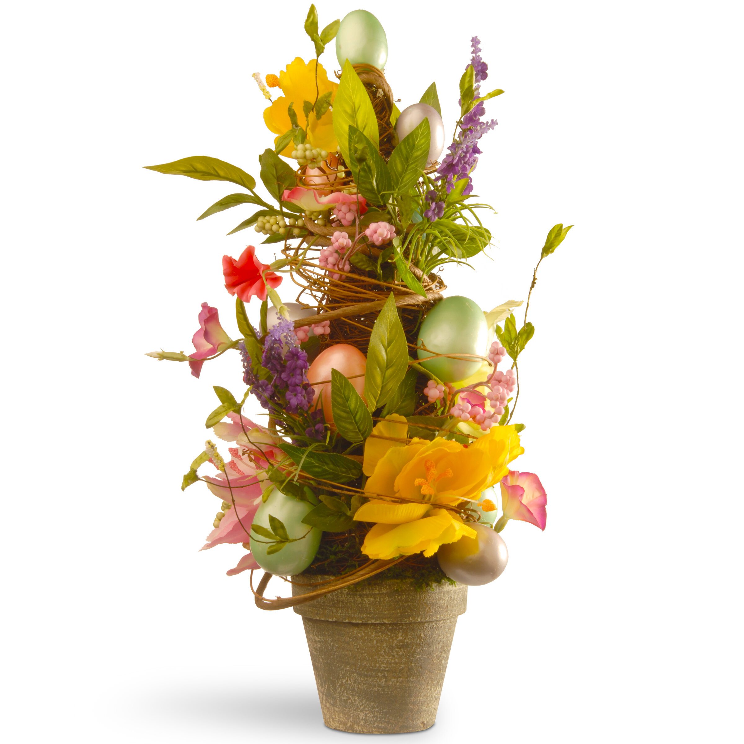 National Tree Co. Floral Easter Topiary with Tulips and Egg ...