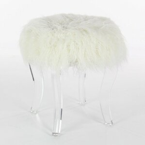 Sachiko Wooden Acrylic Ottoman by Everly Quinn