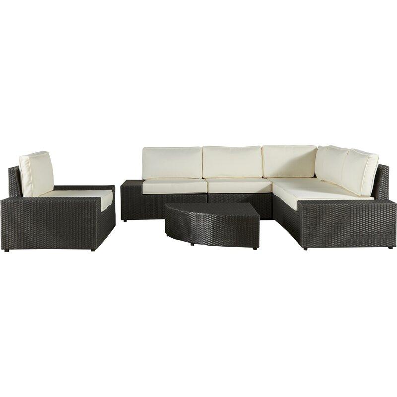 Wade Logan  Mountview 7 Piece Rattan Conversation Set with Cushions Color: Grey