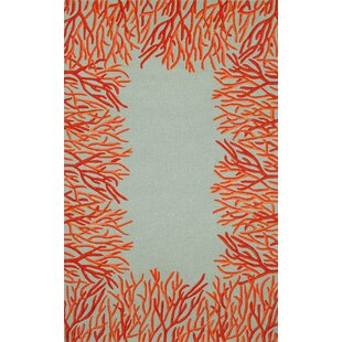 Bluford Orange Coral Border Orange/Blue Indoor/Outdoor Area Rug