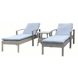 Denika Sun Lounger Set with Cushions and Table